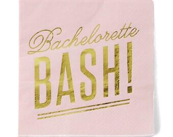 Bachelorette Bash, Party Napkins, Pink and Gold Paper Party Supplies, Paper Napkins, Party Decor for Bachelorette Party