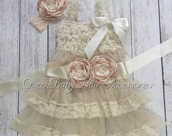 Beautiful sets ruffle dress with belts and headband brithday photo or event different colors