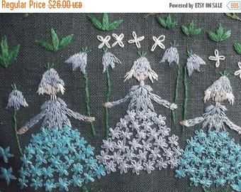 Summer sale -20% Wall art. Lovely Handmade Vintage Swedish Wall Hanging. Hand Embroidered Painting with 3 Witches in the Forest. Hand Embroi