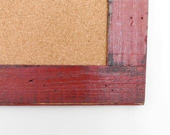 RED CORK BOARD - Large Framed Bulletin Board - 24 x 36 - Message Board - Rustic, Distressed Finish - Shown in Barn Red -Choose Color