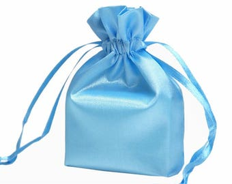 Large Baby Blue Satin Gift Bag