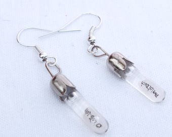 Customized tube earrings on rice grain