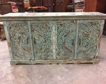 Turquoise Distressed Blue Sideboards Chest Ornate Lotus Carved Double Door Storage Buffet Console