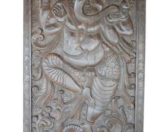 Antique Vintage Hand Carved Panel Dancing Ganesha on Lotus Wall Hanging, Door Panel Zen Interior Design