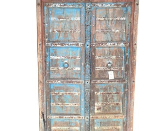 HUGE Antique Cabinet, Blue Distressed Teak Doors, India Furniture, Rustic Almirah, Hand Carved oLD wORLD ECLECTIC Decor
