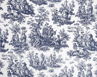 """Blue Curtains, Waverly Rustic Toile, Blue Toile, Custom Curtains,Pair Drapery Panels, 24"""" Wide,52"""" Wide"""