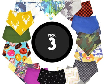 Pick ANY 3 Bandana Bibs | Baby Boy Bibs or Baby Girl Bibs or Gender Neutral Bibs | Choose 3 Bibs | Baby Shower Gift