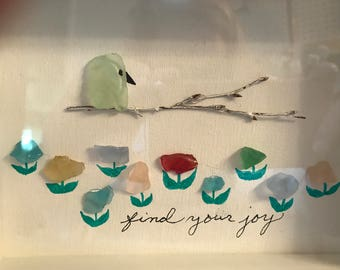 Sea Glass Beach Glass Find Your Joy Shadow Box
