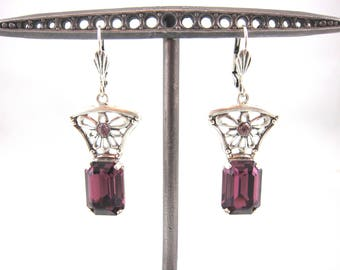 Vintage Catherine Popesco Purple Swarovski Crystal And Sterling Silver Art Deco Style Floral Dangle Earring-Made In France