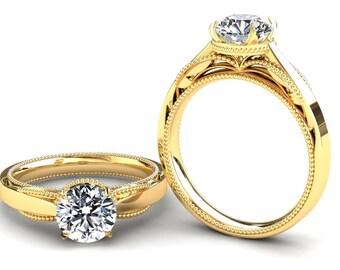 Forever One Moissanite Engagement Ring  1.00 Carat Forever One Moissanite Solitaire Ring In 14k or 18k Yellow Gold SJW1MOISY
