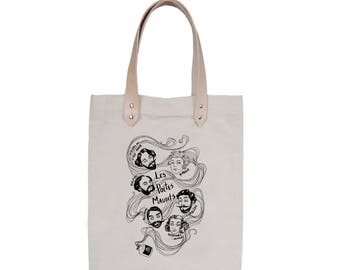 Tote Bag With leather straps - Screenprint Over Cotton Canvas Tote Bag Poetes Maudits
