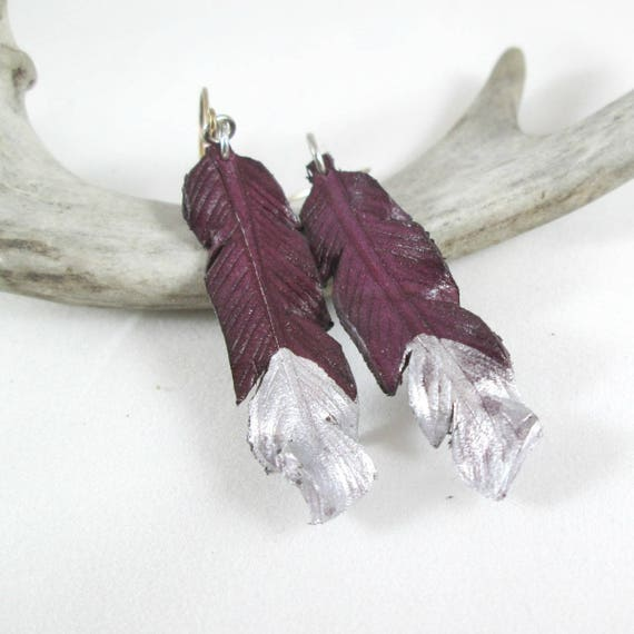 Purple  and Silver Leather Feather Earrings