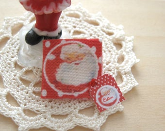 christmas santa dollhouse  handkerchief 12th scale miniature