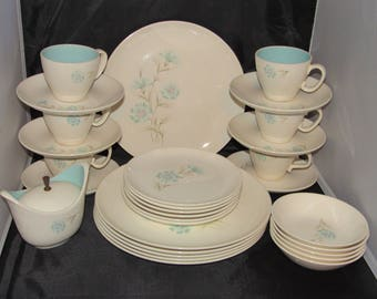 Retro Taylor Smith Boutonniere Ever Yours Dinner Set, Service for 6, Dinnerware 30 Pc, 1960's