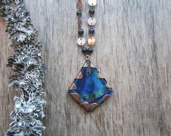 Labradorite necklace Rustic pendant necklace Blue stone necklace Labradorite pendant Gray and blue Labradorite jewelry Boho chic necklace