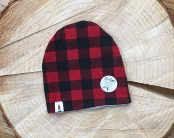 Reversible Red Plaid/Striped Beanie