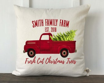 Farmhouse Personalized Christmas Pillow Cover, Vintage Truck Pillow, Farmhouse Christmas Decor, Christmas Gift