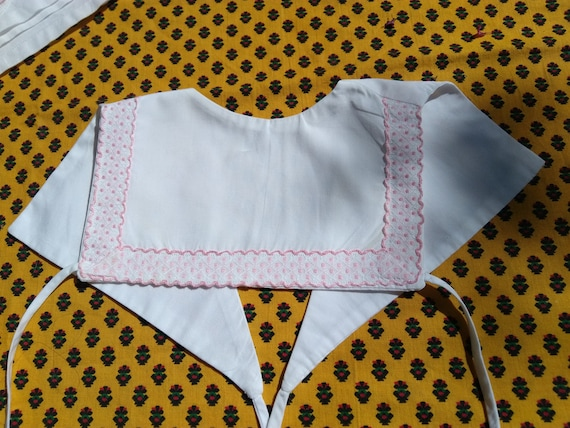 Vintage White Baby Bib Pink Ribbon Trim French Cotton Lined Baby Accessory #sophieladydeparis