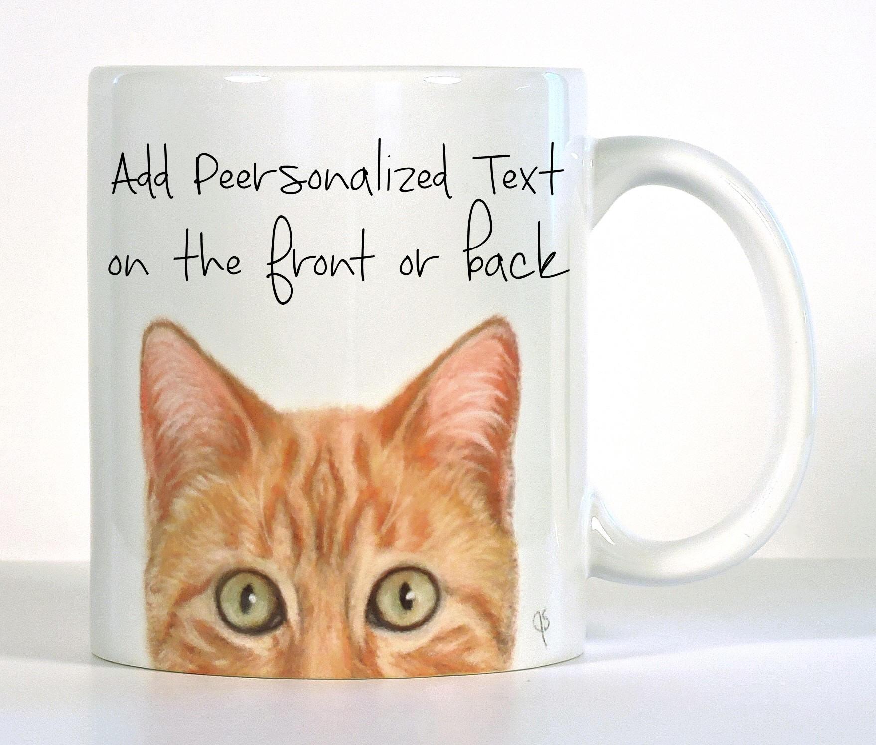 Cat Mug Orange Tabby Cat Mug PeekABoo Mug Personalized Cat