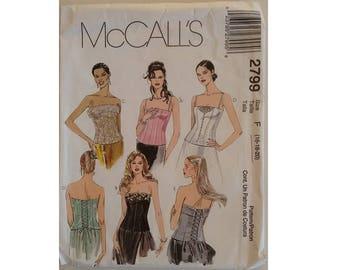 "Part UNCUT McCalls #2799 Plus Size Lace Up Corset Bodice Bustier Strapless Top Sewing Pattern 3 Sizes UK 16 18 20 Bust 38"" 40"" 42"""
