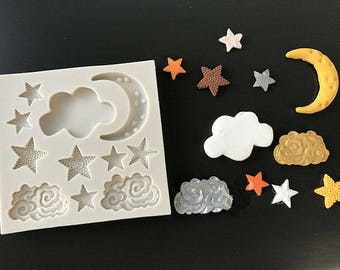 Stars Moon Cloud Night Sky Silicone Mold - Baking Fondant Happy Birthday Party Teapot Teacup cup Cupcake