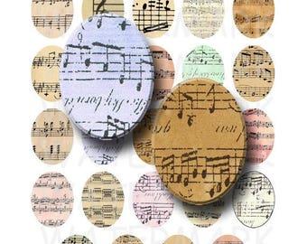SALE- Sheet Music - Digital Collage Sheet   - 30x40mm Ovals - INSTANT DOWNLOAD