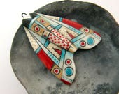 Red, Turquoise, and Tan Moth Pendant
