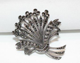 Vintage Sterling Silver Marcasite Spray Brooch