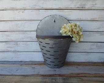 Galvanized Wall Pocket Flower Vase ~ Olive Bucket Slots Slits Look ~ Urban Farmhouse Fixer Upper Industrial Home Decor