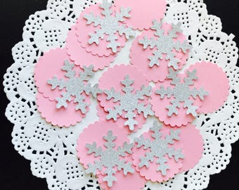 100pcs glitter snowflake table confetti 1st birthday Wonderland party Christmas decoration silver pink gold 4.7cm/1.85in