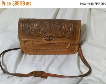 On Sale Vintage Hand Tooled  Leather Western Purse with Floral Design