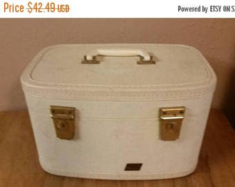 On Sale Hawthorne Peach and White Train Case or Make Up Bag with Original Mirror Vintage Luggage
