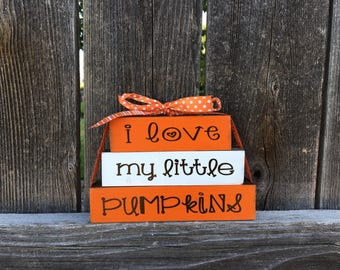 I love my little pumpkins Mini blocks--Halloween blocks