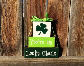 St. Patrick's day blocks, You're my lucky charm wood blocks, shamrocks