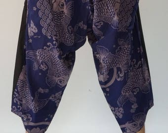 HC0568 Elastic waist Samurai Pants  - elastic waistband and cuffs - Fits all!  Unisex pants These beautiful casual pants is unique & co