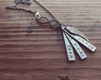 Hand stamped name tag necklace