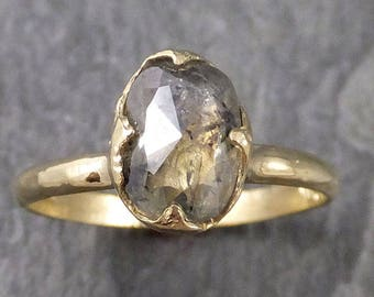 Fancy cut salt and pepper Diamond Solitaire Engagement 18k yellow Gold Wedding Ring Diamond Ring byAngeline 1046