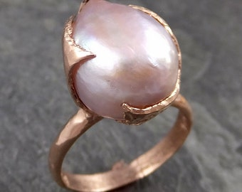 Fresh water pearl 14k Rose gold solitaire Cocktail Ring Statement Ring byAngeline 1059