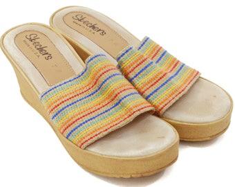 Vintage 90s Skechers High Heel Wedges Sandals Shoes Sz 7M