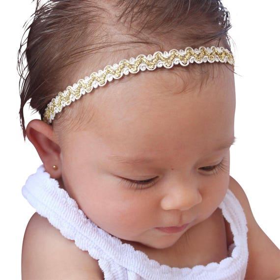 Gold Christmas Baby, Baptism Headband, Baby Headpiece, Baby Headband, Infant Headband, Headband for babies, Gold Headband