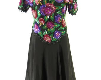 Vintage 70s Sequin Dress Womens L Laurence Kazar Floral Retro Silk Black [H92U_1-5_Long]