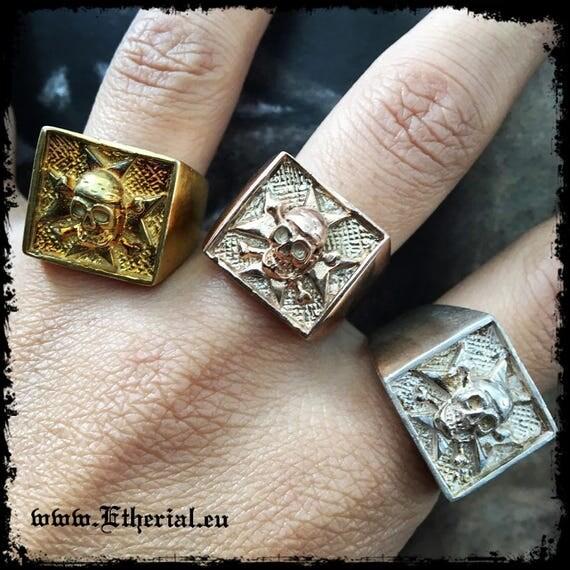 Etherial Jewelry - Rock Chic Talisman Luxury Biker Custom Handmade Artisan Pure Sterling Silver .925 Badass Maltese Cross and Skull Ring