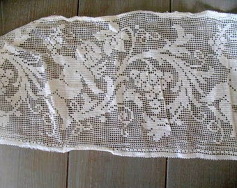 Antique French Cotton Crochet Table Runner Or Curtain, Old Ivory Colour  Cherubs And Grapes 158cm