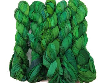 New! 50g Recycled Sari Silk Ribbon, 25-28 yards , color Rainforest