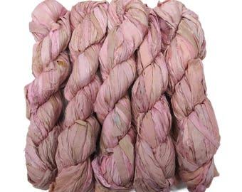New! Recycled Sari Silk Ribbon, color: Powder