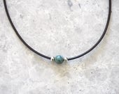 Gemstone Choker Necklace, Jasper Bead Necklace for Her, Green Bead, Simple Choker, Everyday Jewelry