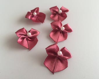 Small Pink Ribbon Bows with Faux Pearl