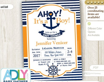 Editable Navy Orange Nautical Baby Shower for Baby Boy Printable DIY digital invitation Blue, anchor, ship wheel- ao41bsY