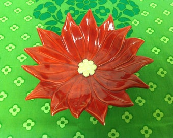 Vintage Red Poinsettia Bowl