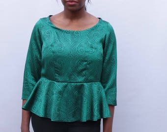 UK size 10-12 Sparkly emerald green Peplum top with three quarter length sleeves handmade by The Emperor's Old Clothes